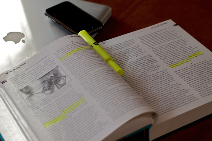 Textbook with highlighting