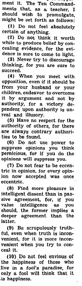Bertrand Russel's Teaching Manifesto
