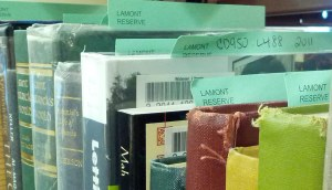 Photo of books on reserve
